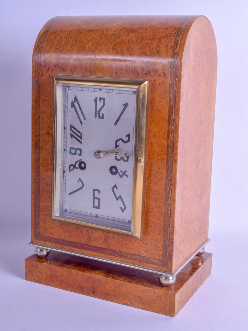 A LOVELY ART DECO BURR WALNUT ANGULAR MANTEL CLOCK with
