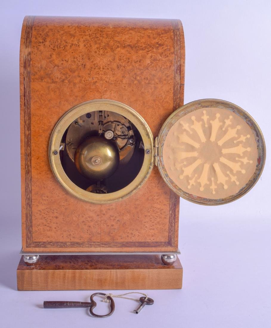 A LOVELY ART DECO BURR WALNUT ANGULAR MANTEL CLOCK with - 2