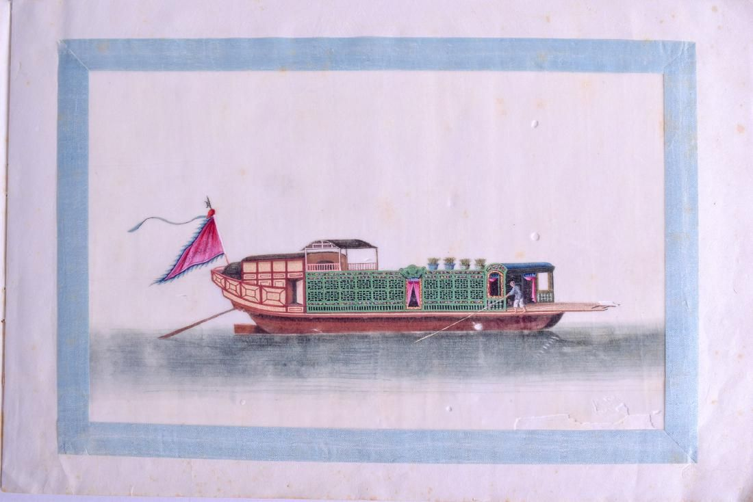 A GOOD ALBUM OF TWELVE 19TH CENTURY CHINESE PITH PAPER