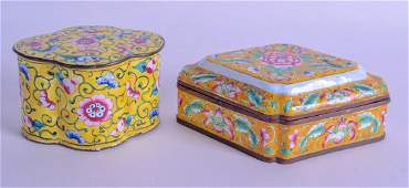TWO EARLY 20TH CENTURY CHINESE CANTON ENAMEL BOXES AND