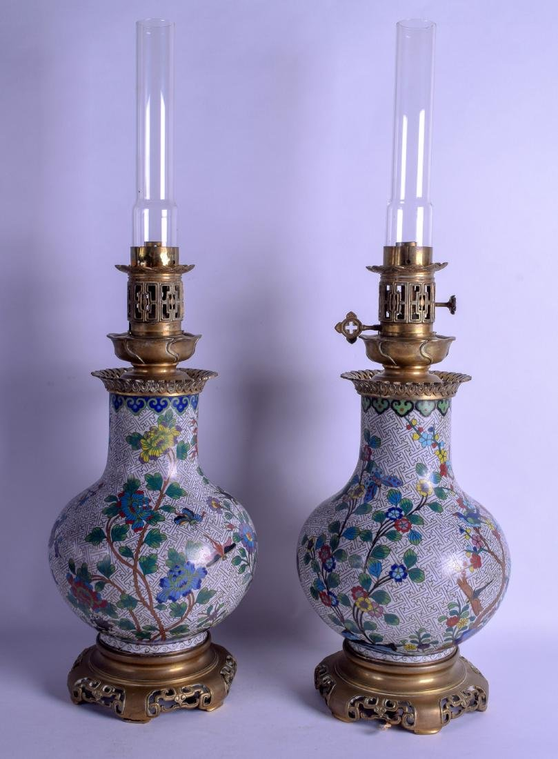 A GOOD PAIR OF 19TH CENTURY CHINESE CLOISONNE ENAMEL