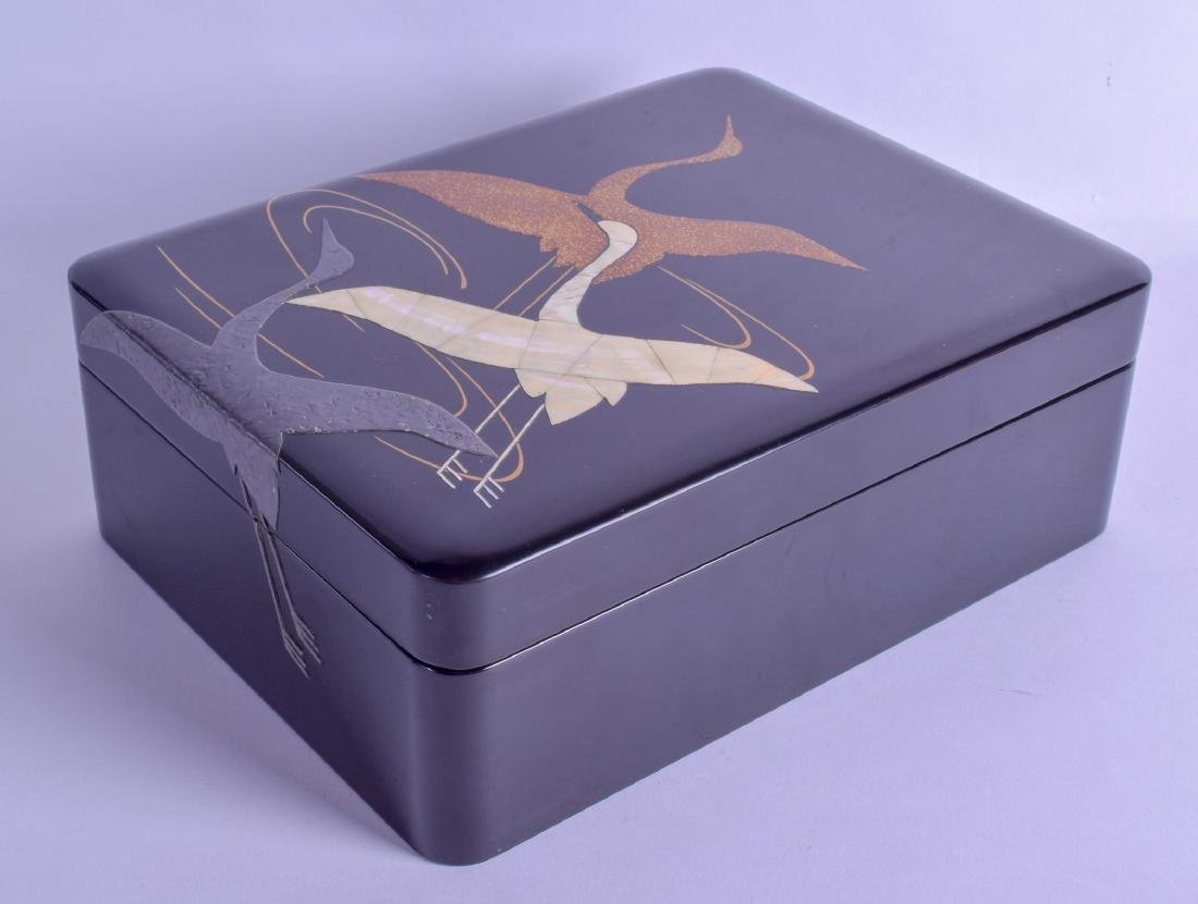A JAPANESE ZOHIKO BLACK LACQUER BOX AND COVER decorated