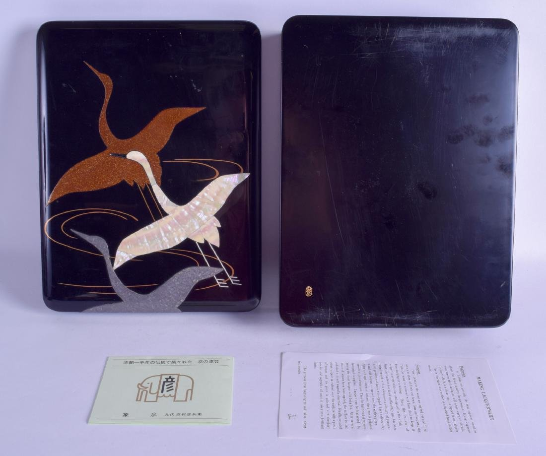 A JAPANESE ZOHIKO BLACK LACQUER BOX AND COVER decorated - 2