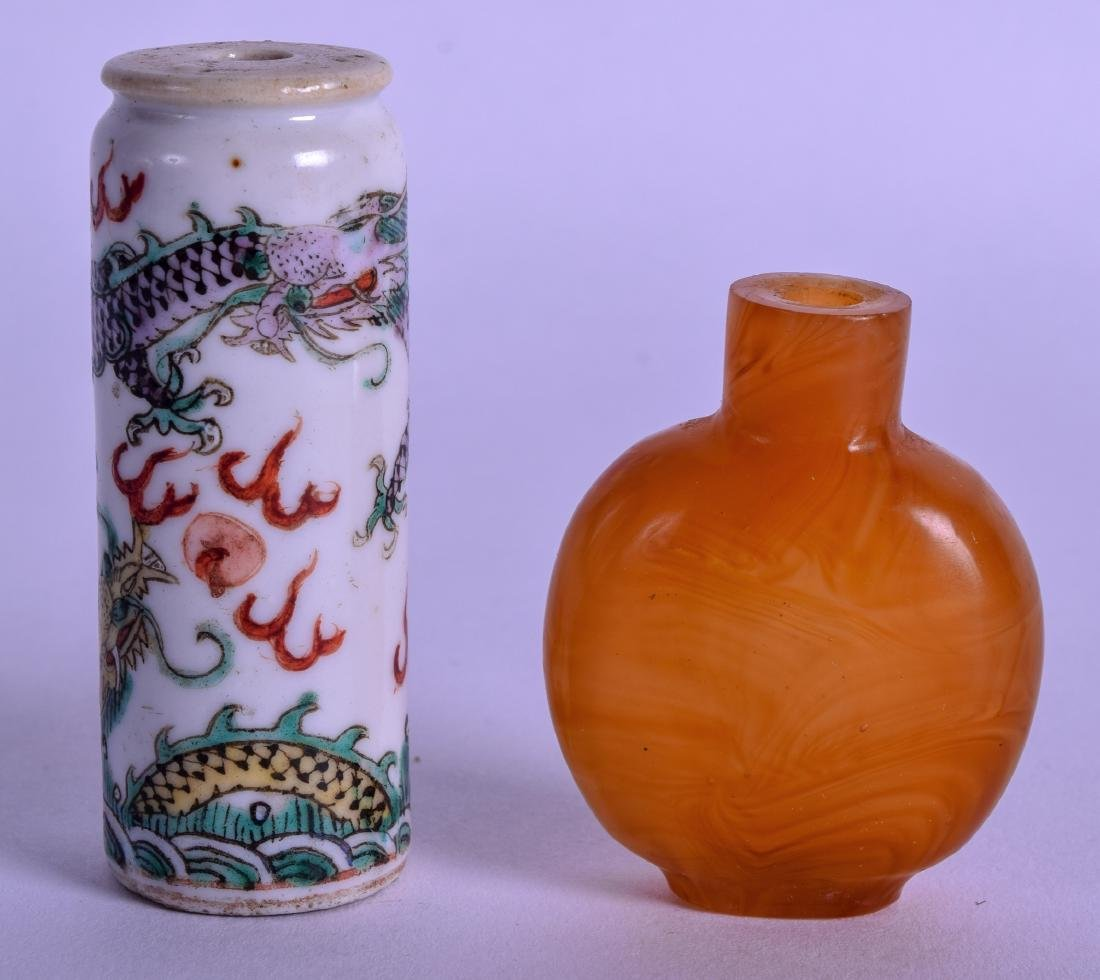 A 19TH CENTURY CHINESE FAMILLE VERTE SNUFF BOTTLE