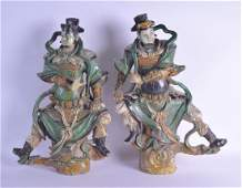 A RARE LARGE PAIR OF 17TH CENTURY CHINESE SANCAI GLAZED