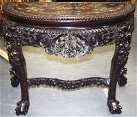 A GOOD LATE 19TH CENTURY CHINESE HARDWOOD DEMI LUNE