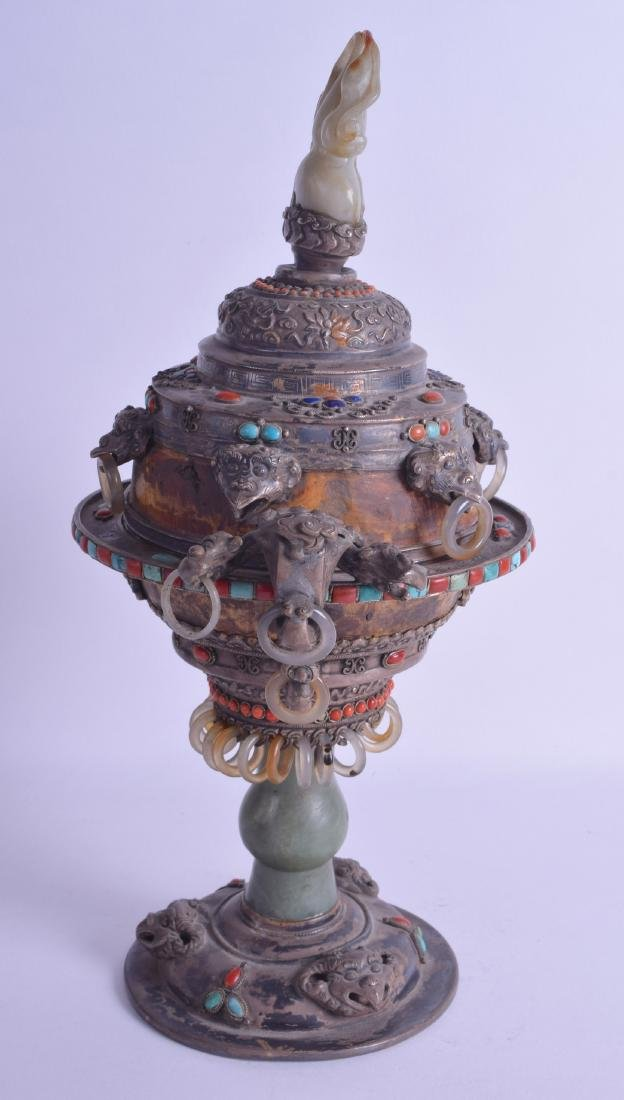 A 19TH CENTURY CHINESE TIBETAN SILVER ENAMEL AND