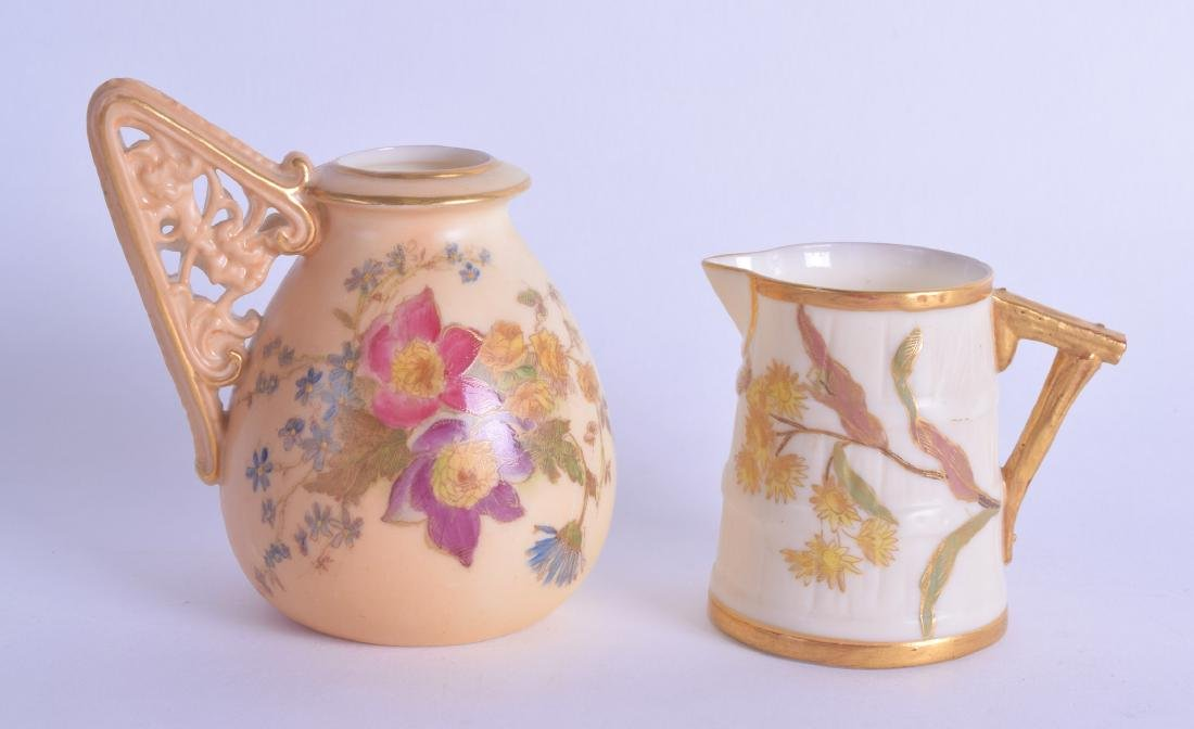 TWO ROYAL WORCESTER BLUSH IVORY AESTHETIC MOVEMENT JUGS
