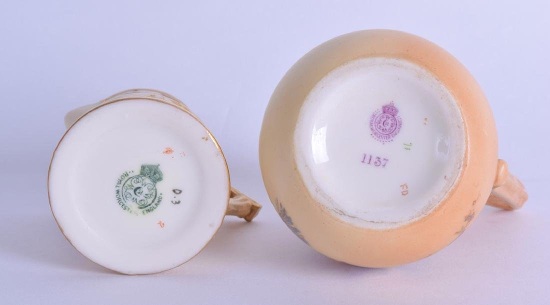 TWO ROYAL WORCESTER BLUSH IVORY AESTHETIC MOVEMENT JUGS - 3