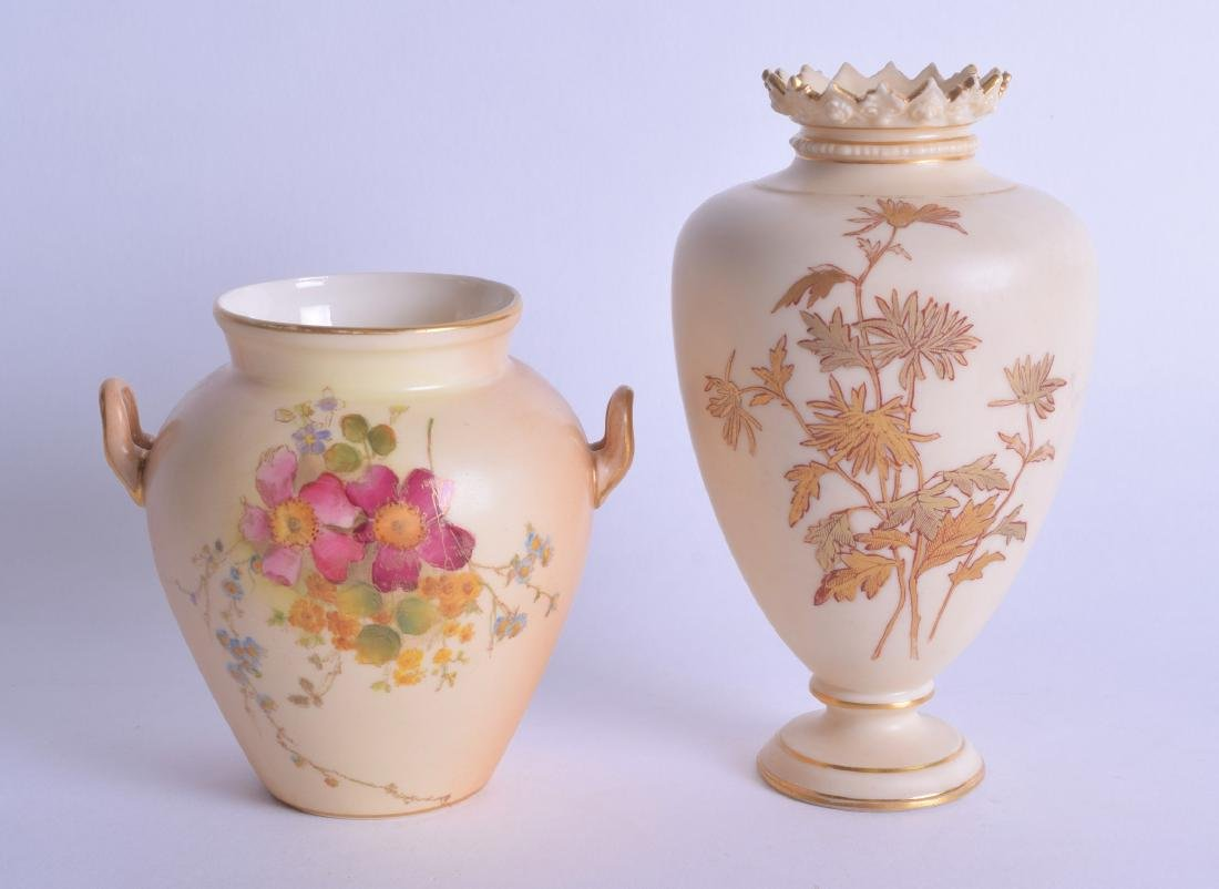 TWO ROYAL WORCESTER BLUSH IVORY VASES painted with