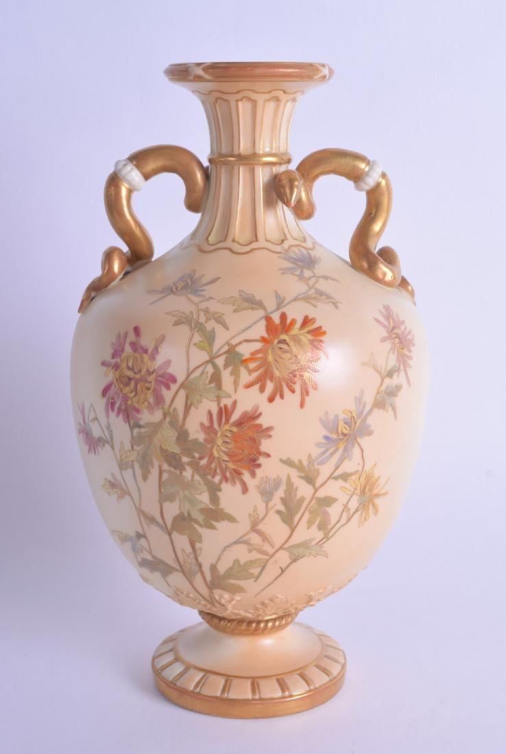 A ROYAL WORCESTER TWIN HANDLED BLUSH IVORY VASE painted