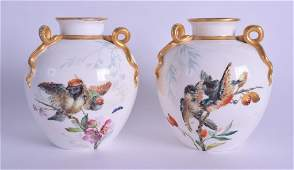 A PAIR OF ROYAL WORCESTER AESTHETIC MOVEMENT PORCELAIN