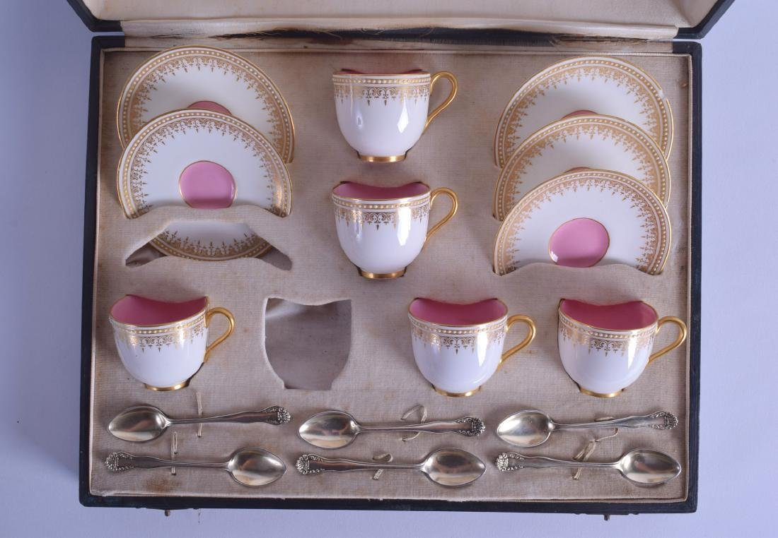 Royal Worcester cased set  of six silver spoons,