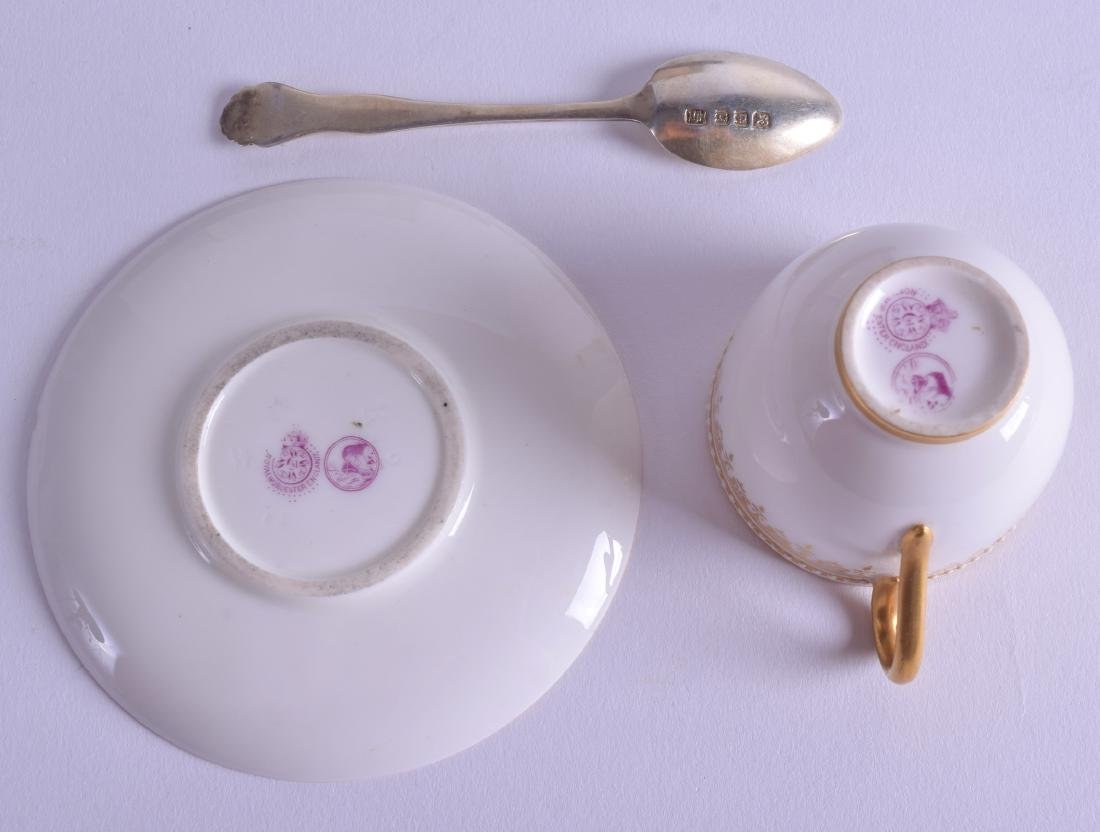 Royal Worcester cased set  of six silver spoons, - 3