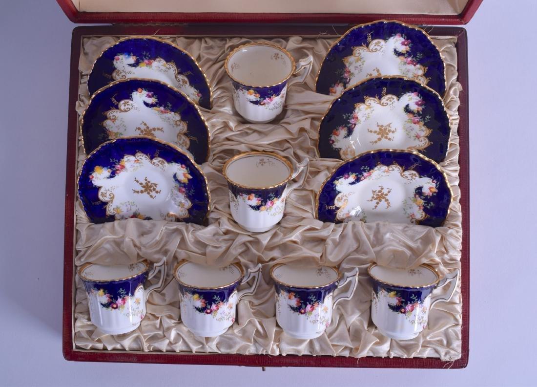 Coalport case set of six coffee cups and saucers flute