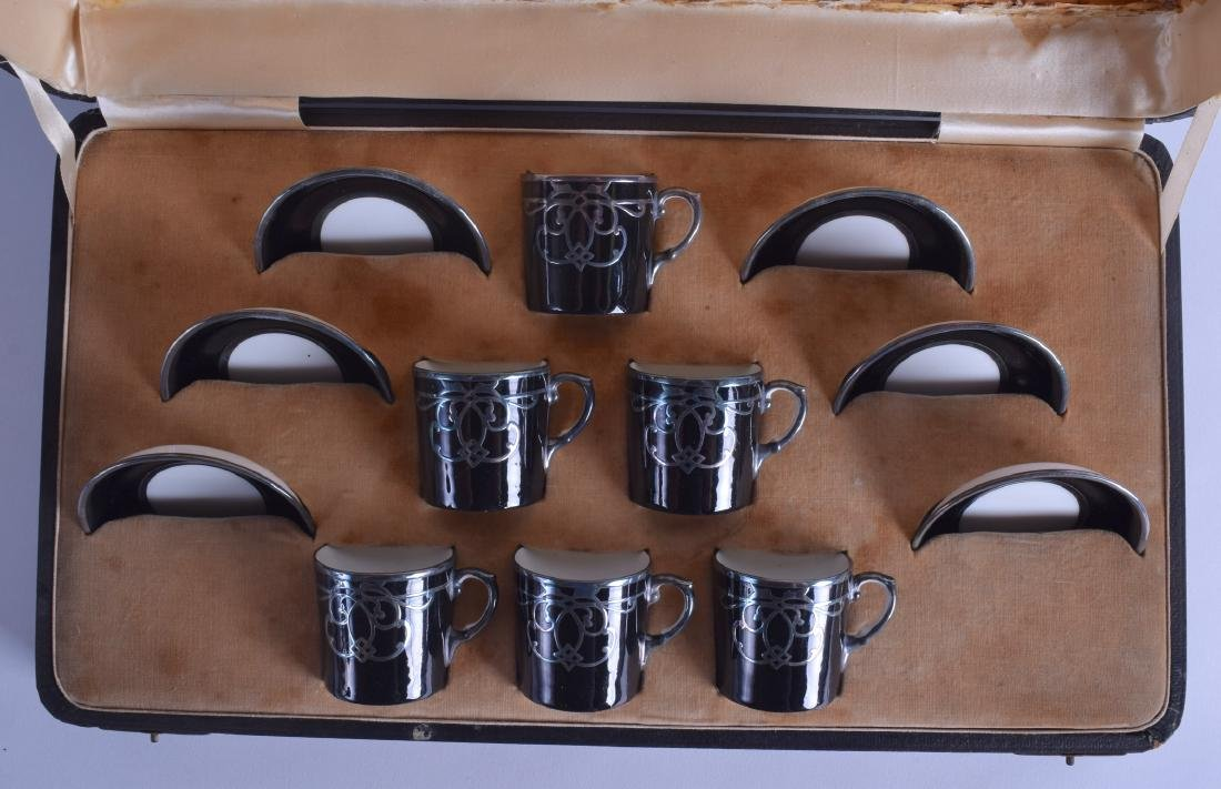 Early 20th c. Aynsley cased set of six demi tasse