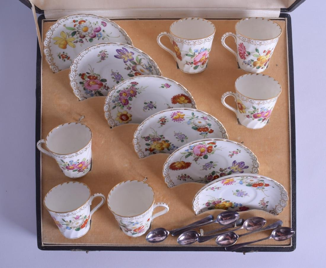 Late 19th c. Addersley cased set of six coffee cups and