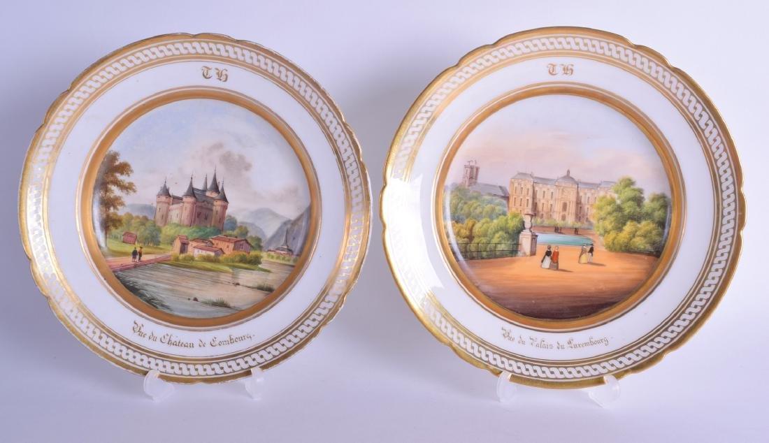 19th c. Paris Porcelain topographical plates painted