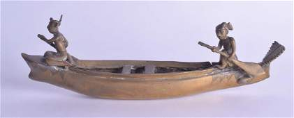 AN UNUSUAL 19TH CENTURY MIDDLE EASTERN BRONZE BOAT