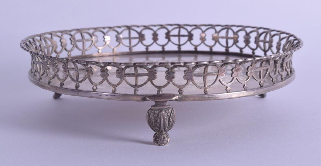 A LATE 18TH CENTURY CONTINENTAL SILVER OPEN WORK WAITER