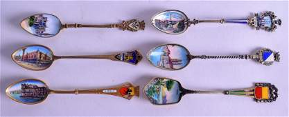 SIX CONTINENTAL SILVER GILT AND ENAMEL SPOONS painted