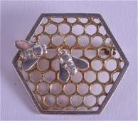 AN UNUSUAL ENGLISH SILVER HONEY COMB SILVER & GILT BEE