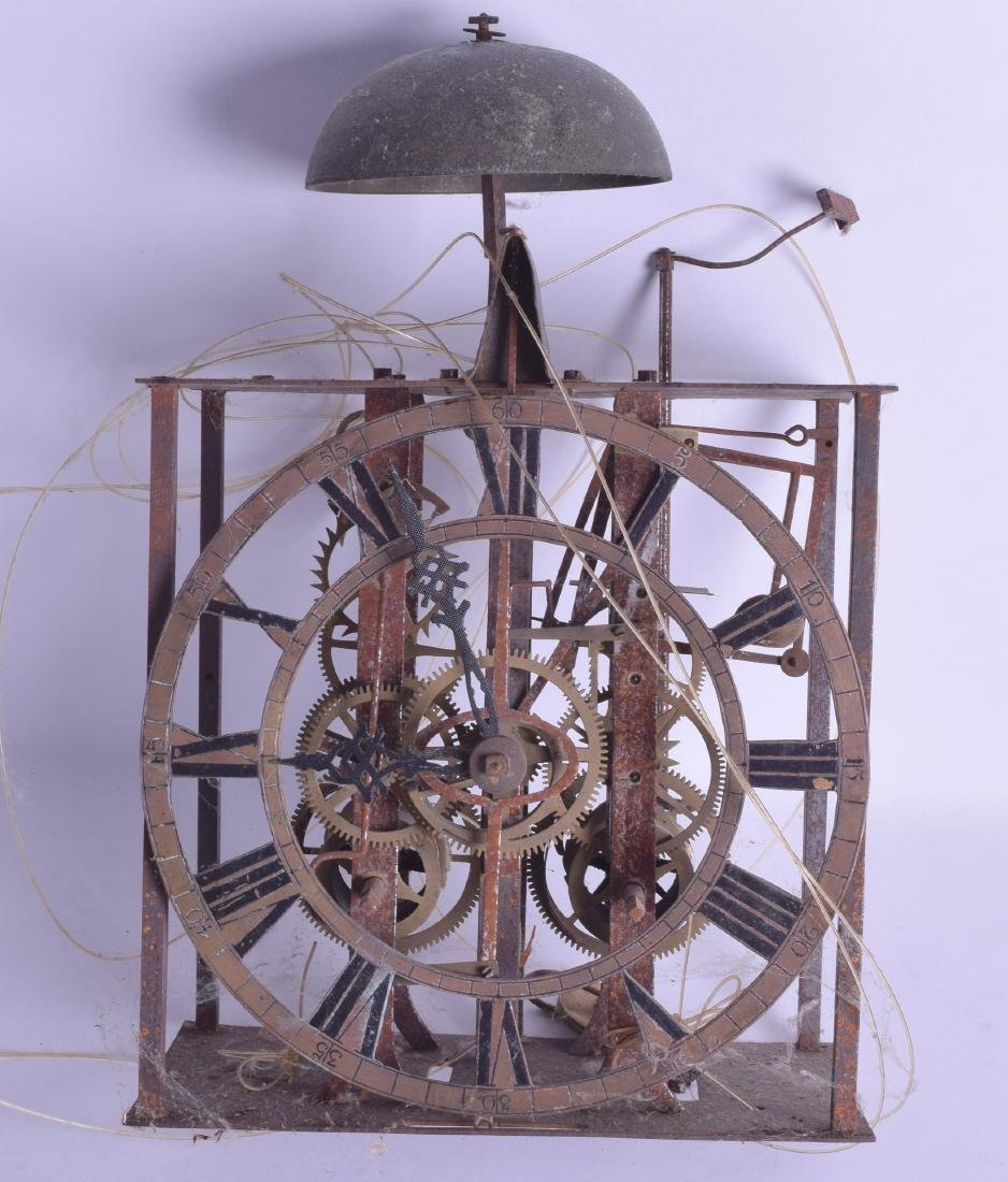 A 19TH CENTURY LONGCASE CLOCK MOVEMENT with openwork