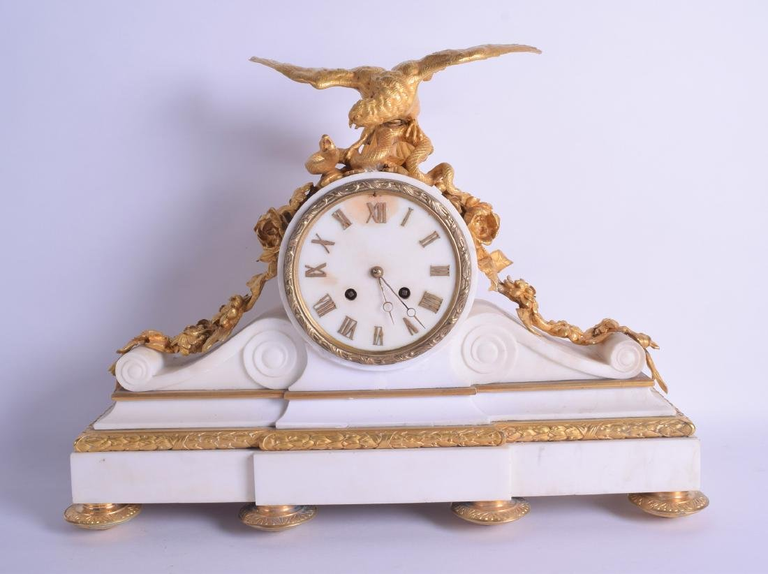 A GOOD MID 19TH CENTURY FRENCH ORMOLU AND WHITE MARBLE