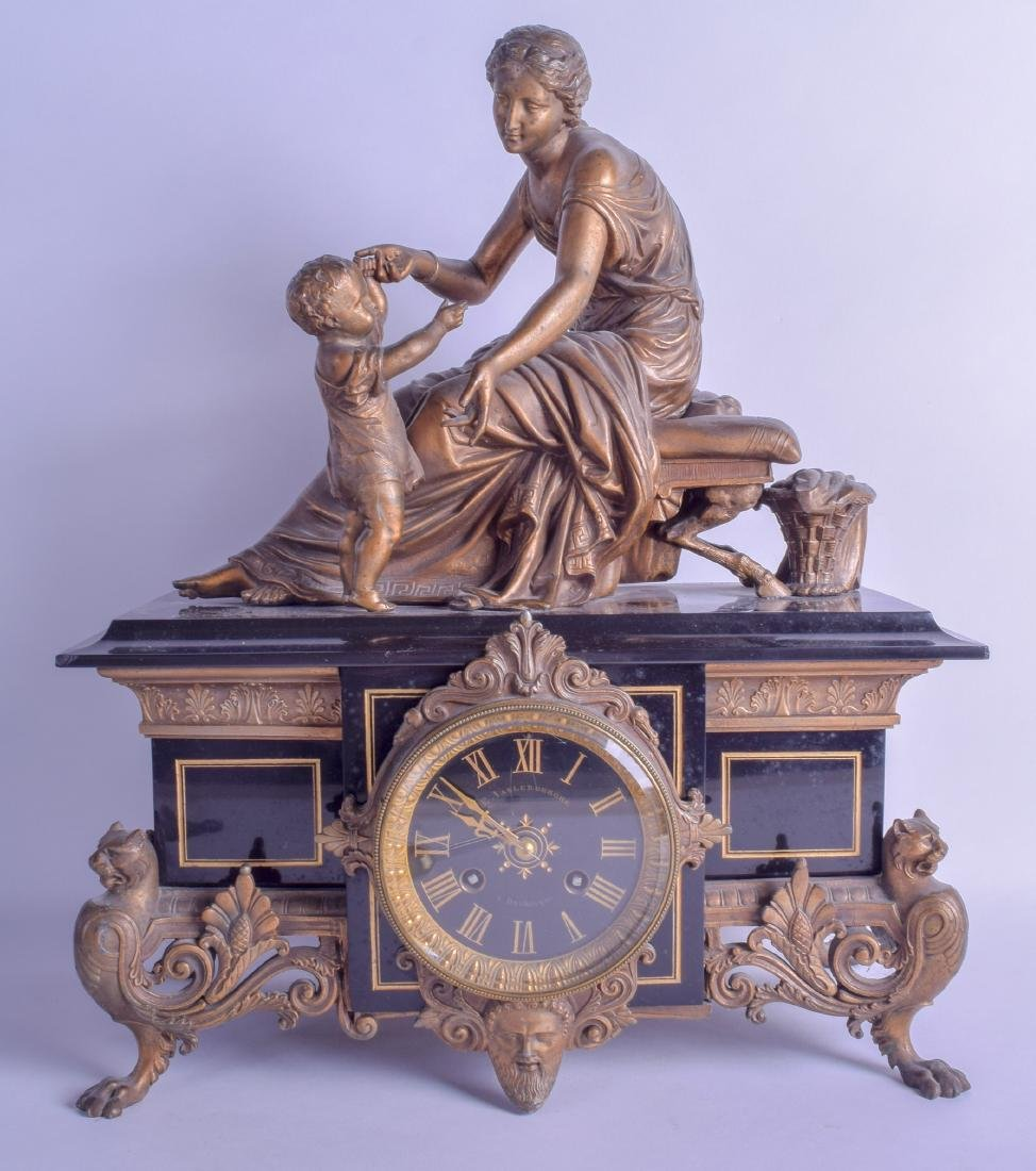 A LARGE 19TH CENTURY FRENCH SPELTER AND BLACK MARBLE