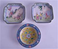 A PAIR OF 19TH CENTURY CHINESE CANTON ENAMEL SQUARE