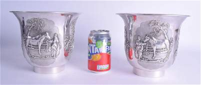 A FINE LARGE PAIR OF 19TH CENTURY CHINESE EXPORT SILVER