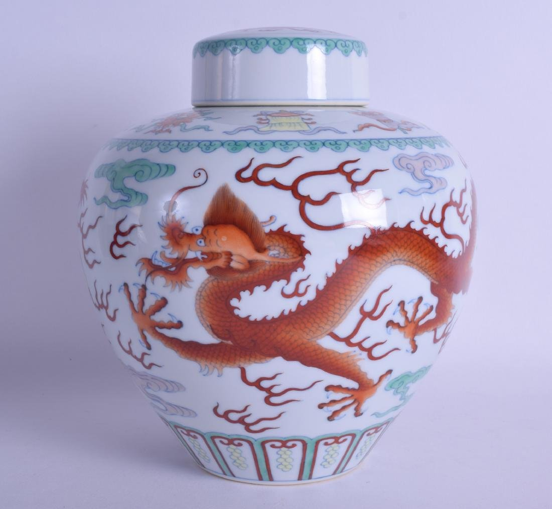 A CHINESE DOUCAI OVOID PORCELAIN GINGER JAR AND COVER