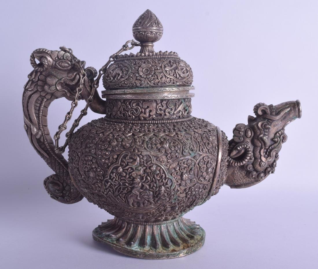 A GOOD 19TH CENTURY CHINESE TIBETAN WHITE METAL TEAPOT - 2