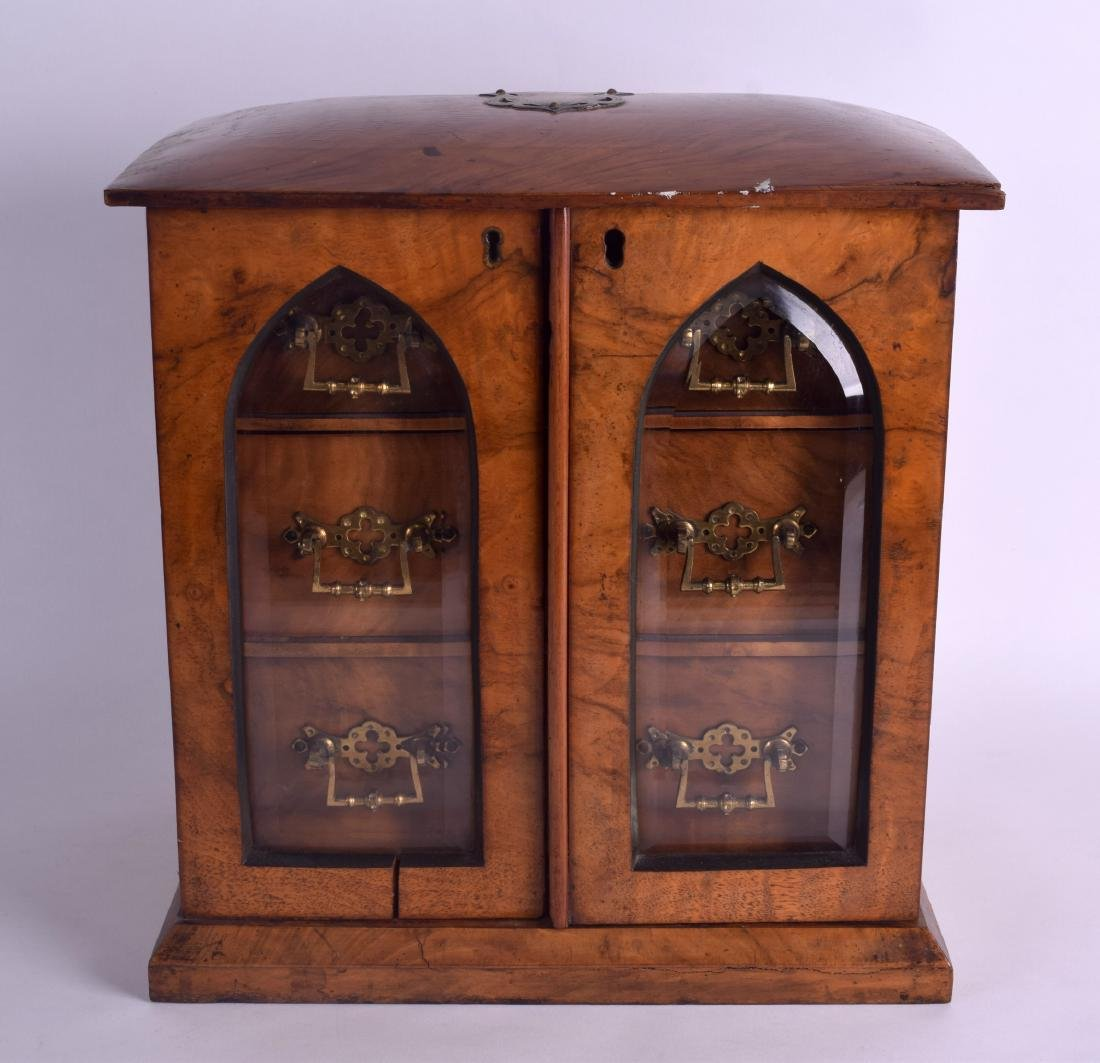 A VICTORIAN TWO DOOR WALNUT JEWELLERY DISPLAY CASE with