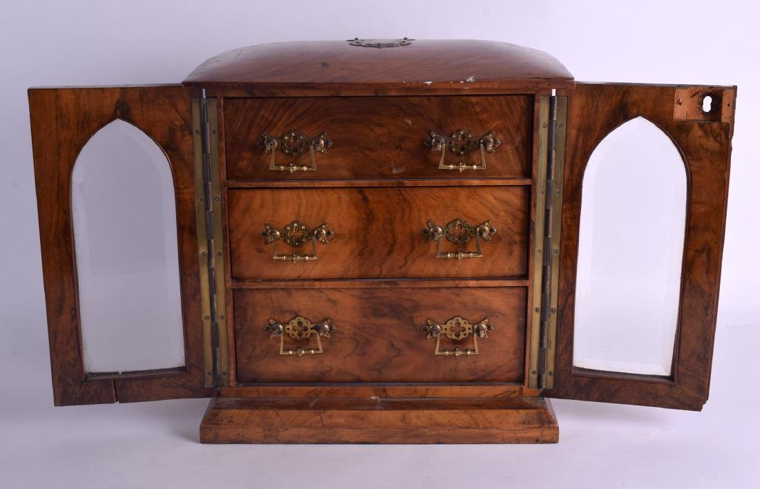A VICTORIAN TWO DOOR WALNUT JEWELLERY DISPLAY CASE with - 2