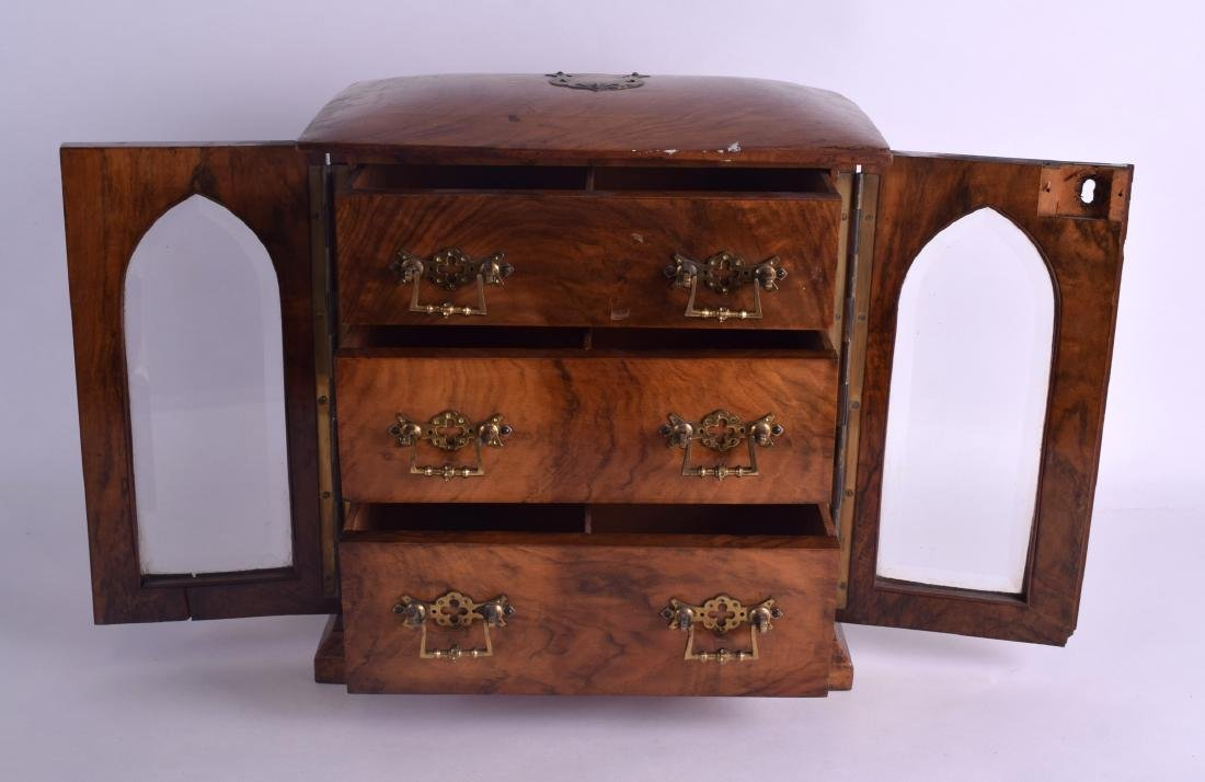 A VICTORIAN TWO DOOR WALNUT JEWELLERY DISPLAY CASE with - 3