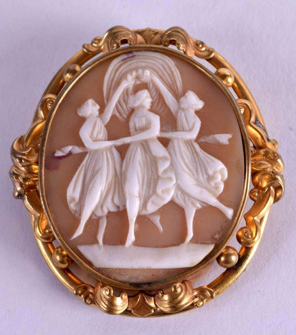 A LATE VICTORIAN YELLOW METAL CAMEO SHELL BROOCH