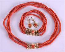 A SUITE OF 18CT GOLD AND CORAL JEWELLERY including a