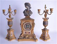 A LARGE 19TH CENTURY FRENCH GILT BRONZE AND MARBLE