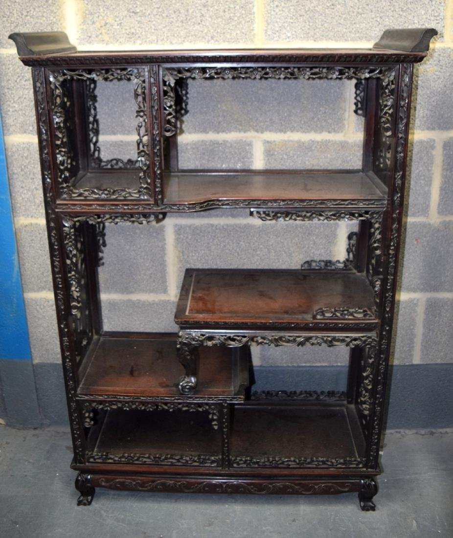 A GOOD 19TH CENTURY CHINESE CARVED HARDWOOD HONGMU