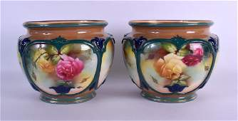 A GOOD PAIR OF 19TH CENTURY ROYAL WORCESTER PORCELAIN
