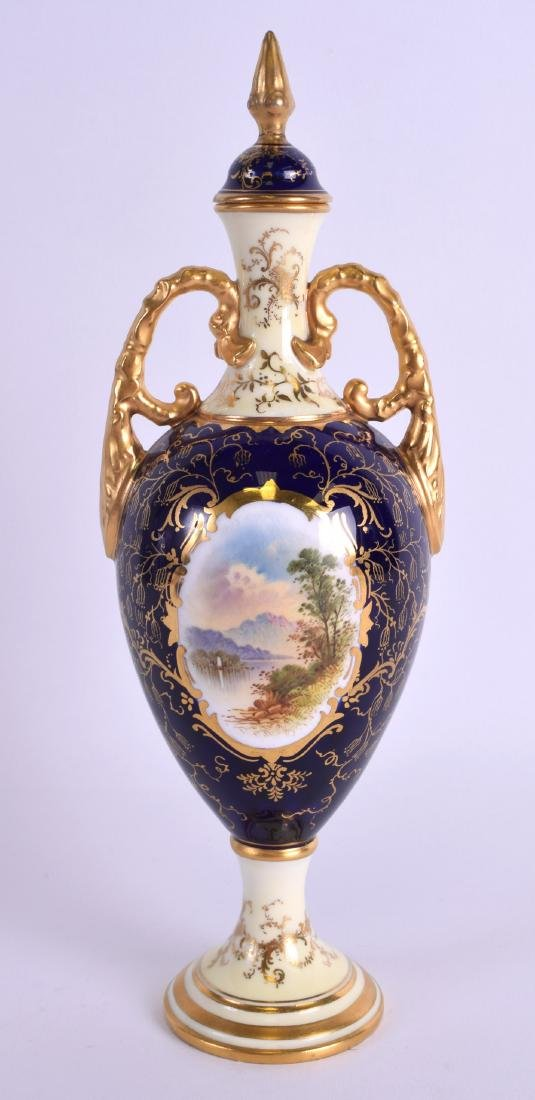 AN EARLY 20TH CENTURY COALPORT TWIN HANDLED VASE AND