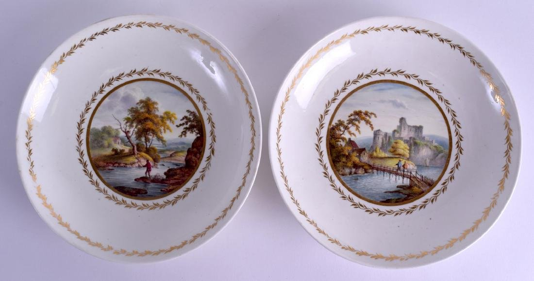 A PAIR OF 18TH CENTURY DERBY PLATES painted with scenes