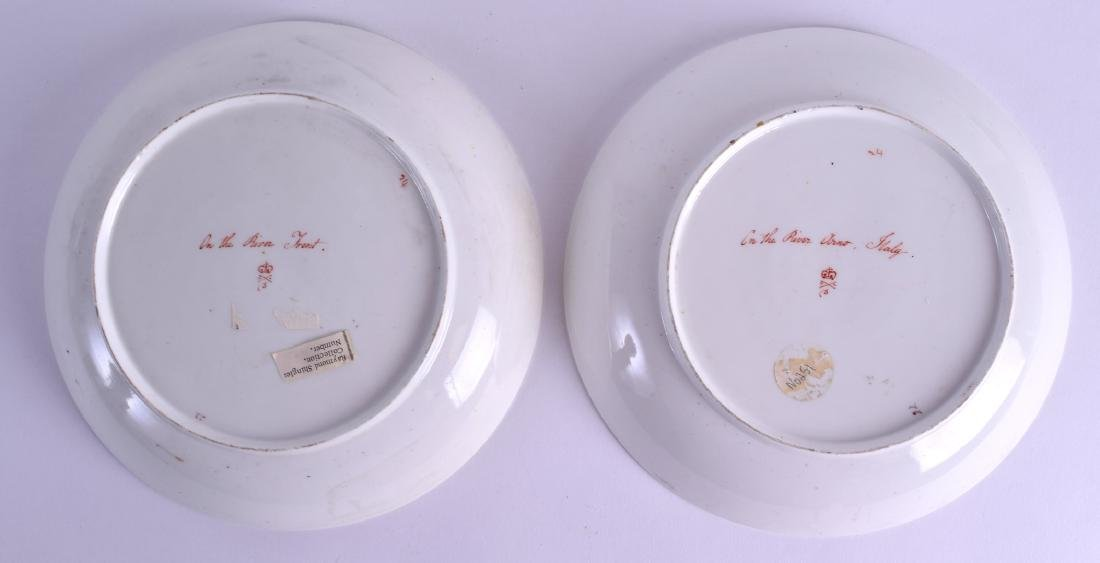 A PAIR OF 18TH CENTURY DERBY PLATES painted with scenes - 2