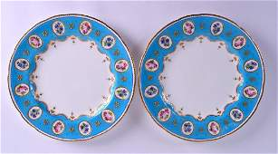 A CHARMING PAIR OF MINTON PORCELAIN PLATES painted with