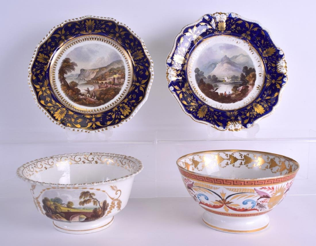 A PAIR OF 19TH CENTURY DERBY PLATES painted with a view