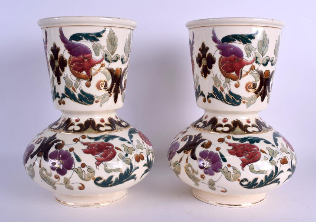 A PAIR OF AUSTRO HUNGARIAN RUDOLF DITMAR VASES Zsolnay