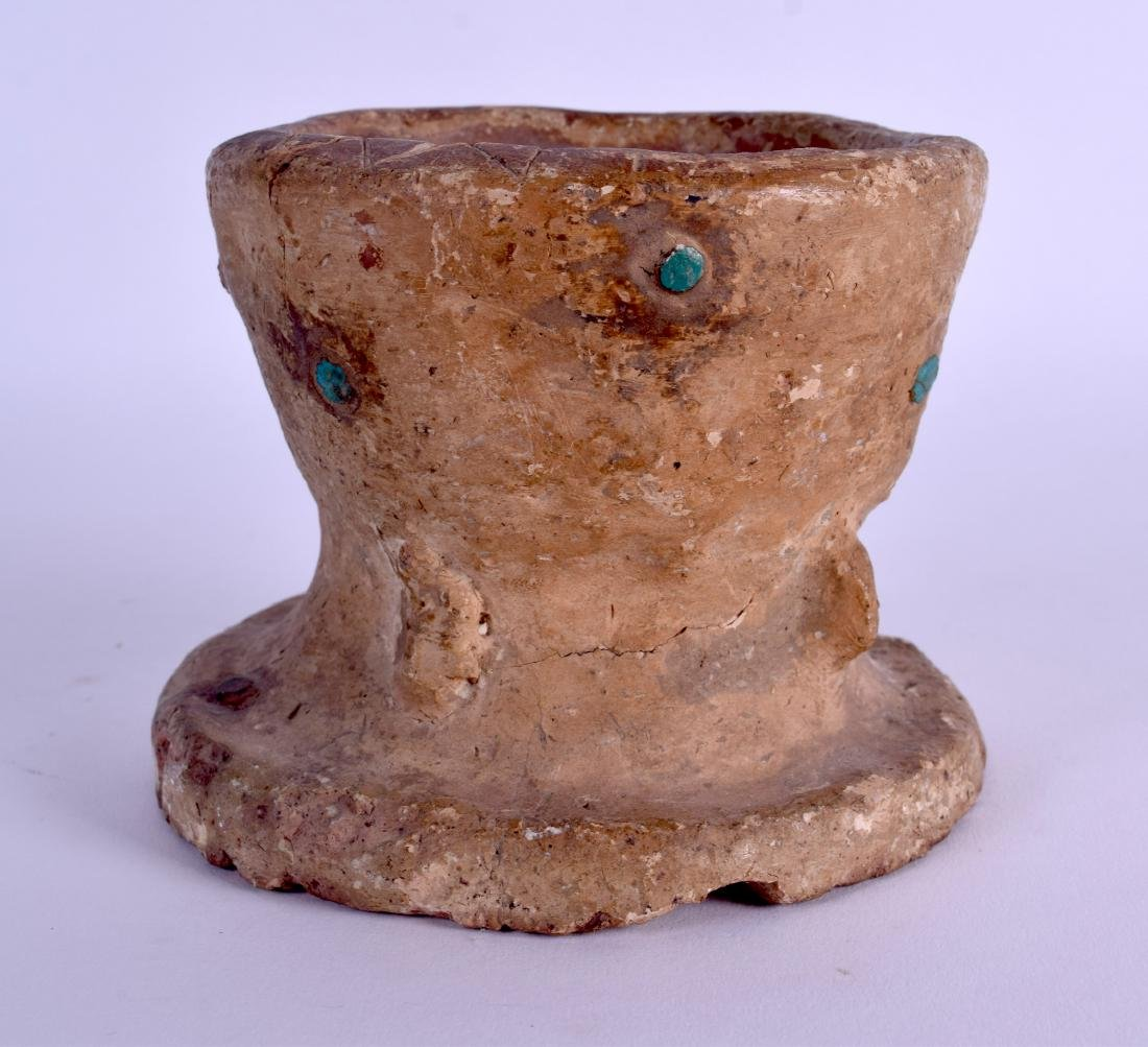 AN EARLY CENTRAL ASIAN TERRACOTTA POTTERY MORTAR with - 3