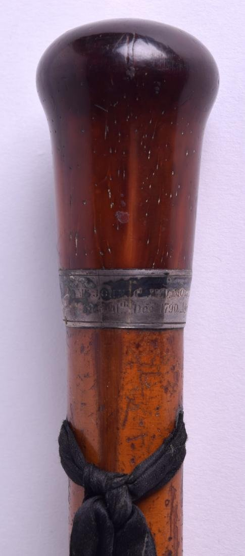 A GEORGE III SILVER MOUNTED MALACCA WALKING CANE with