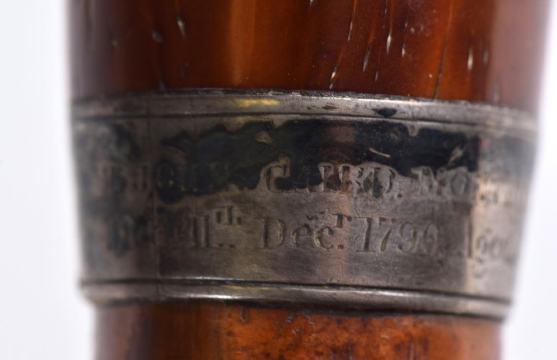 A GEORGE III SILVER MOUNTED MALACCA WALKING CANE with - 4